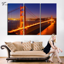 Canvas Painting Set Golden Gate Bridge 3 Panel Large Wall Art Print San Francisco California City Night View Pictures (No Frame)(China)