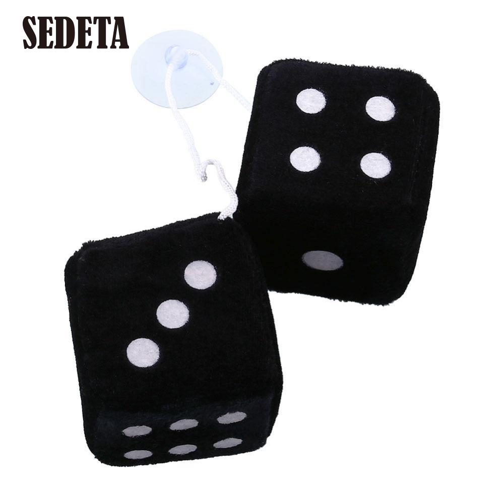 Pair Black Fuzzy Dice Dots Rear Rearview Mirror Hangers Vintage Car Accessories(China (Mainland))