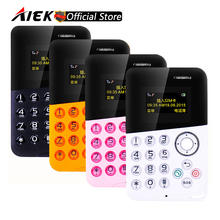 New Arrival Mini Card Phone AIEK/AEKU M8 Color Screen Card Phone Quad Band Low Radiation Kids Pocket Mobile Phone PK AIEK M5 E1(China)