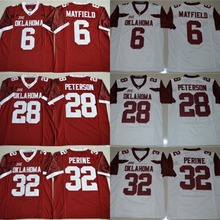 Oklahoma Sooners 6 Baker Mayfield 28 Adrian Peterson 32 Samaje Perine College Football Jerseys Stitched Size S-3XL Free Shipping(China)
