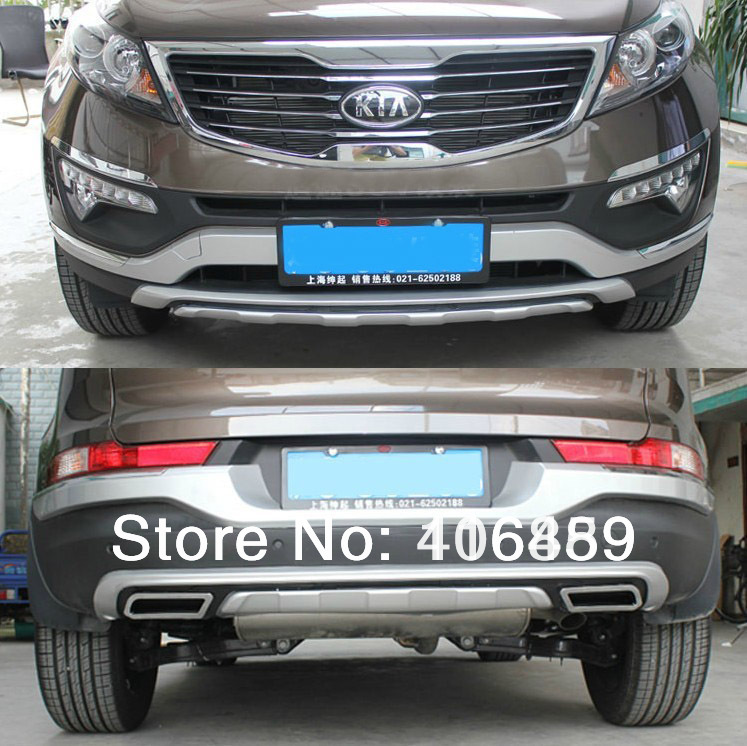 Good quality plastic ABS Chrome Front+Rear bumper cover trim For 2011-2012 KIA Sportager ,car styling<br><br>Aliexpress