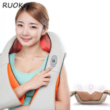 RUOKey Cervical Back Neck Massager Shawl Electric Roller Heat Device Manual Home Car Body Massage Machine(China)