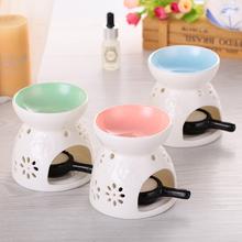 Fragrance Lamp Holder Furnace Incense Censer Lights Classic Pink Glaze Ceramic Aromatherapy Oil Burner Candle Home Decor(China)