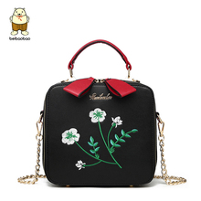 Beibaobao Printing Crossbody Bag Women Messenger Bags embroidery Handbags Cute High Quality Shoulder Bag Small square pouch