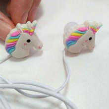 3.5mm Wired Cheap Earphone with Microphone Stereo Cartoon Girl Horse Stereo Bass Earphone For Iphone Xiaomi Samung Smartphone