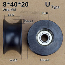 [U0840-20]Free Shipping 4pcs 608zz coated pa66 nylon 1.57inches bearing roller wheel 8*40*20mm U type groove pulley(China)