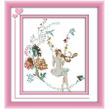 The woman in the world - swing Counted Cross Stitch 11CT 14CT Cross Stitch Set Wholesale Cross-stitch Kit Embroidery Needlework(China)