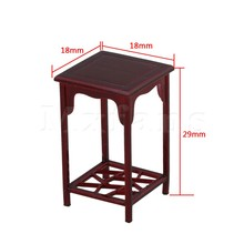 Mxfans 18x18x29MM Square High Rose Wood Color 1:25 Dollhouse Miniature Chinese Coffee Table Furniture Building Model