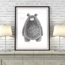 Minimalist Black White Kawaii Bear Large Poster And Prints Animal Picture Nordic Canvas Painting No Frame Kid Room Decor(China)