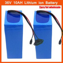 Wholesale 2pcs/lot 500W 36V 10AH Electric Bicycle battery 36V lithium EBIKE battery with PVC case 15A BMS 42V 2A charger