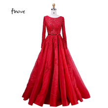 Finove Evening Dresses Elegant with Long Sleeve Crystal Beading Scoop-Neck Sashes Lace Ball Gown Prom Dresses Fast Shipping(China)