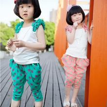 Summer Suits for Girls Clothing Sets Dots Kids Clothes Children Casual Flower Sleeveless T-Shirt+Pants Summer Sets Infant 4T 6 8