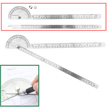 1pc Stainless Steel Angle Ruler 180 degree Protractor Finder Arm Measuring Tool 198 x 53 x 14mm Mayitr