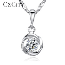 Buy CZCITY Fine Jewelry Cubic Zirconia Rose Flower Classic 925 Sterling Silver Pendant Necklace Women Chain Necklace Jewelry Gift for $11.36 in AliExpress store