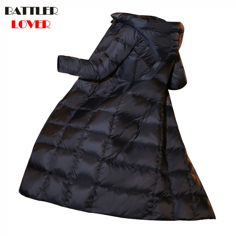 2018 Winter Women Thick Down Jacket 90% Duck Down Coat Jackets X-Long Warm Hooded Overcoat Parka Girls Windproof Outwear Clothes