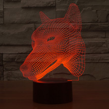 Dog 3D LED nightlight RGB 7color Changeable Mood Lamp Night Light DC5V USB Decorative Kids Table Lamp