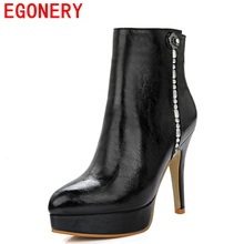 EGONERY shoes 2017 European and American winter metal zipper delicate flower diamond decoration elegant sexy fashion boots woman