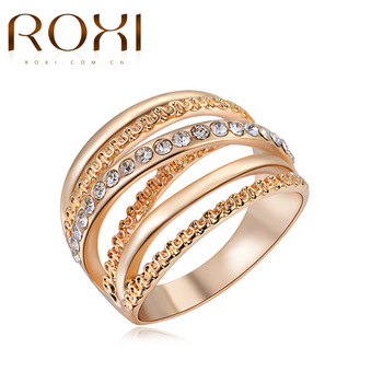 2017 ROXI Brand Ring Rose Gold Color Zirconia Jewelry Finger Rings for Women Wedding Band Classic Rings anillos Body Jewelry