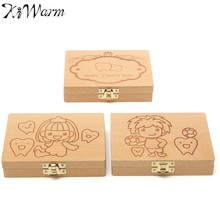 KiWarm Baby Boy Girl Pattern Wooden Boxes Milk Tooth Lanugo Storage Boxes for Kids Safe Permanent Preservation Boxes Decor Craft
