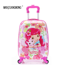 "2016New 16""Girl Children Suitcase Luggage,Child Kid Boy Girl Princess Cat  ABS Cartoon trolley case box Traveller Pull Rod Trunk"