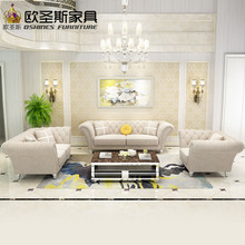 china 2017 latest design 7 seater 3 2 1 1 sofa livingroom Furniture post modern new classical Soft genuine fabric sofa set W38FA(China)
