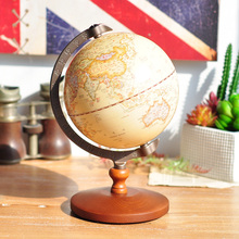 European style retro nostalgia furniture cabinet bookcase ornament globe craft gifts wooden decoation vintage home decor