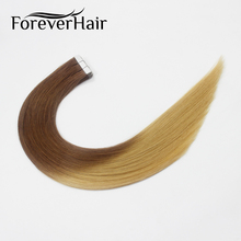 "FOREVER HAIR 2.0g/pc 18"" Remy Tape In Human Hair Extension Ombre T6/16 European Tape Hair Silky Straight Skin Weft 20pcs 40g"