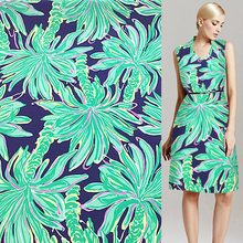 Green Coconut tree pattern pure silk Crepe DE chine silk fabric 16momme 128cm width by yard,SCDC540(China)