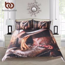 BeddingOutlet Cool Western Cowboy Bedding Set Hat On The Boots Duvet Cover Set with Pillowcases Super Soft Bedclothes 3 Pieces(China)