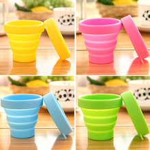 Protable Solid Color Water Silicone Cups Folding Gargle Cup For Outdoor Travel Drinkware Tools HG99