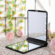 Hot Sale 4 Colors Girls Makeup Mirror with 8 LED Light Folding Cosmetic Hand Mirror Portable Pocket Mirror