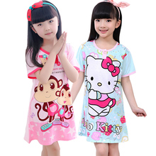 Girls Nightgowns Kids Pajamas Summer Cotton Short Sleeve Kids Girls Clothing Sleepwear Dress Kids Pajamas Dress for Girls 2017