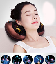 Multifunction Home Car Electric Body Massager Pillow Infrared Acupressure Shiatsu Neck Pain Relief Massage Machine Tool(China)
