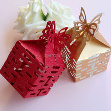 100PCS Double Happiness Candy Boxes Gift Boxes Wedding Party Favors Box Red/Gold Free Shipping