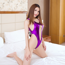 Buy Sexy Women Backless PVC Shiny Faux Leather Hollow Bodysuit High Cut Thong Erotic Leotard Costumes Latex Bodysuit Club Wear FX16
