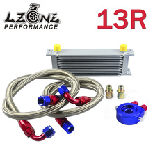 LZONE RACING- AN10 OIL COOLER KIT 13ROWS TRANSMISSION OIL COOLER SILVER+OIL FILTER  ADAPTER BLUE + STAINLESS STEEL BRAIDED HOSE