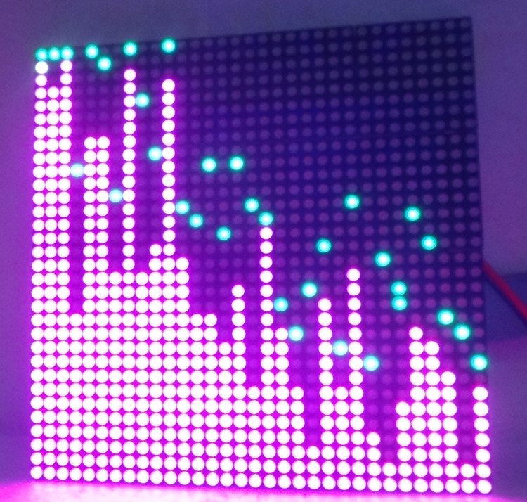32X32 P5 indoor color LED screen RGB music spectrum STM32 music spectrum source with power supply<br>