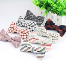 Superior Mens Fashion Diamond Check Artificial 100% Cotton Soft Striped Rainbow Butterfly Men Bow Ties Designer Cravat(China)