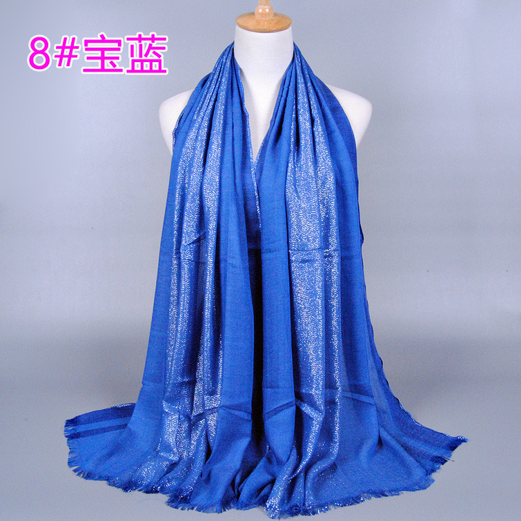 (12 pieces/lot) women's solid color shimmer cotton shawls hijab muslim scarves/scarf GBS156
