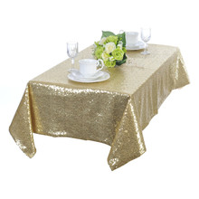 Premium Quality 60''x102'' Sequin Tablecloth/Overlay Shiny Light Gold Tablecloths for Weddings