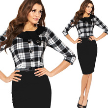 2016 Womens Elegant Tartan O-Neck Tunic Button Wear To Work Business Casual Party Stretch Pencil Sheath Dress