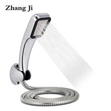 Bathromm Chrome 300 Holes ABS Shower Head Set With Holder And Hose Rainfall High Pressure Shower Head Water Saving ZJ021(China)