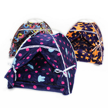 Pet Foldable Cat Houses Portable Indoor Outdoor Pets Tents Fashion Figure Print Cat Puppy Dog Play Houses With Mat For Small Dog