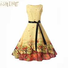 ISHINE 2017 Summer Dress Women Floral Print 50s 60s Vintage Dress With Belt Sleeveless Elegant Party Retro Dresses Sundress(China)