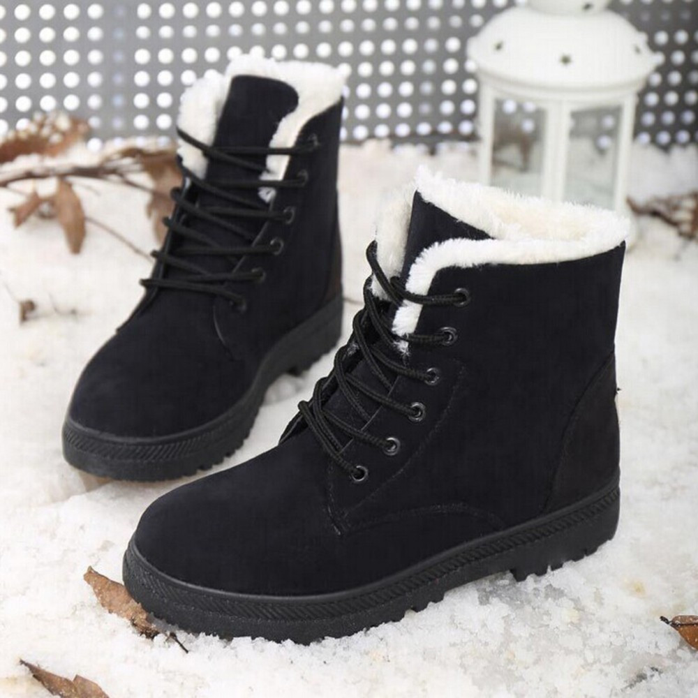 2017 New Fashion Women's Winter Short Boots Sheepskin Thickened Fur Shoes Keep Botas Mujer Lace Up Flock Warm Ankle Snow Boots(China)