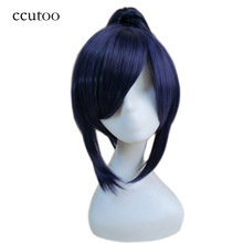 ccutoo 12inch Blue Purple Mix Short Straight Synthetic Hair Cosplay Wig With Chip Ponytail Heat Resistance Costume Hair Wigs