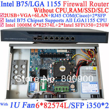 1 u server network firewall router barebone system with Six 1000M 82574L Gigabit Lan two intel i350 SFP fiber ports NO CPU(China)