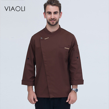 Viaoli Senior Chef Uniform Garments Long Sleeve Men's Food Serving Cooking Costumes 6-Color Large-Size Chef Jacket(China)