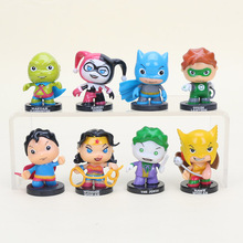 8pcs/set 5.5cm Harley Quinn the Joker PVC Action Figures Green Lantern Wonder Woman Figure Collection Model Brinquedo Toy