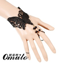 2015 gothic retro fashion accessories Europe  America the butterfly pattern sexy lace bracelets suit fancy dress costume party